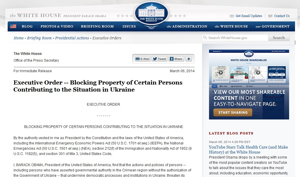 For Immediate Release March 06, 2014 Executive Order — Blocking Property of Certain Persons Contributing to the Situation in Ukraine EXECUTIVE ORDER BLOCKING PROPERTY OF CERTAIN PERSONS CONTRIBUTING...