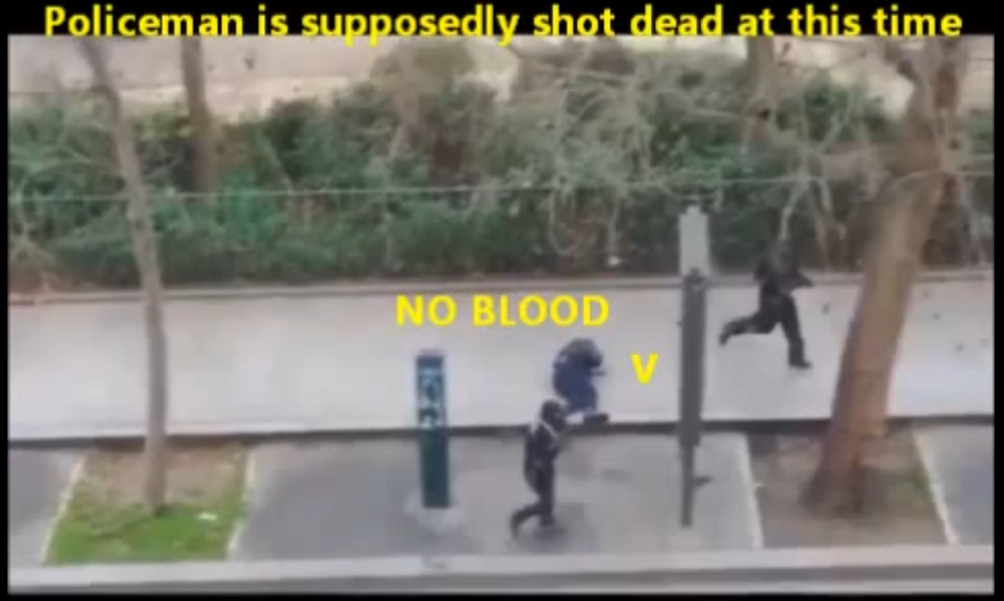 Huge Breaking News out of France! Fake blood added AFTER the Policeman was supposedly shot in Paris. Undeniable photo proof of the #charliehebdo shooting being a hoax. No blood there as they...
